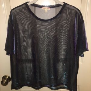 Urban Outfitters UO metallic mesh shirt tshirt